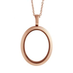 Picture of Large Matte Rose Gold Oval Locket